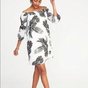 NWT Off-the-Shoulder Smocked Shift Dress